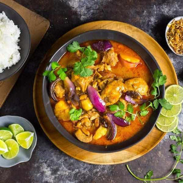 Chicken Massaman Curry served with soy and chilli noodles