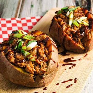 BBQ Pulled Pork stuffed Sweet Potato with Corn on the Cob