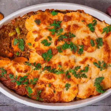 Spiced Cottage Pie with sweet potato crust