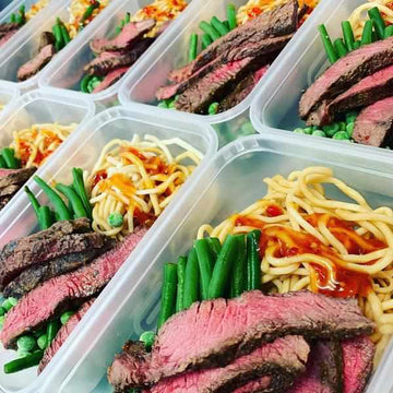 Tandoori Steak with sweet Chilli Noodles, and Green Beans