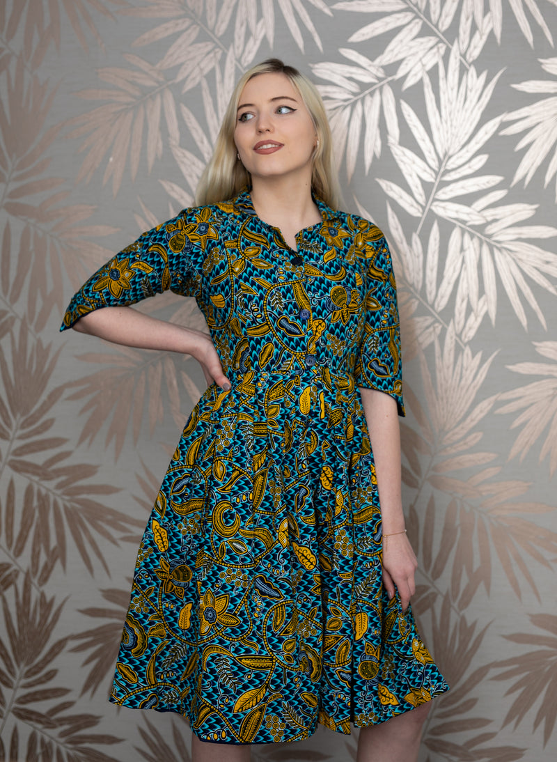 TEMAD Kirstie shirt dress african print ankara midi dress with side pockets and collar