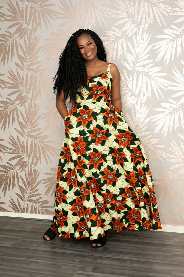 african print ankara maxi dress shop temad collections spaghetti straps flowy dress
