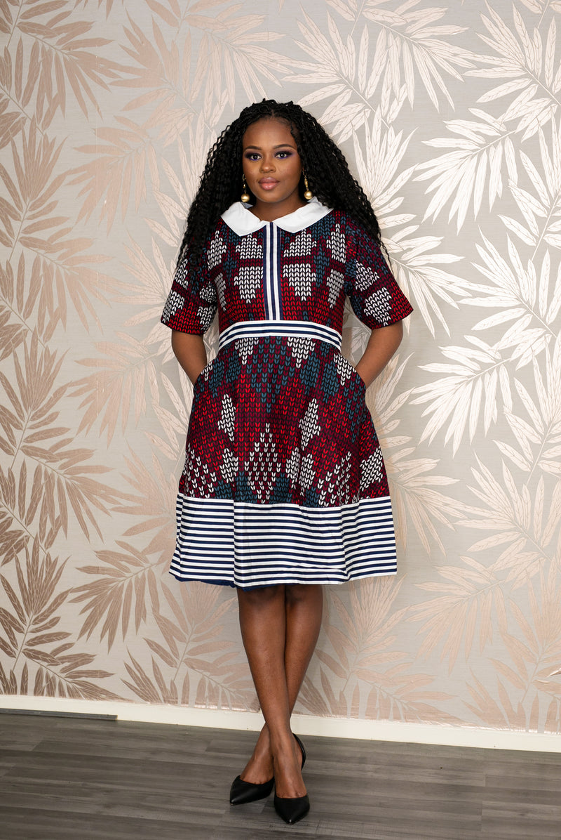 temad african print ankara white collar aline dress with stripes