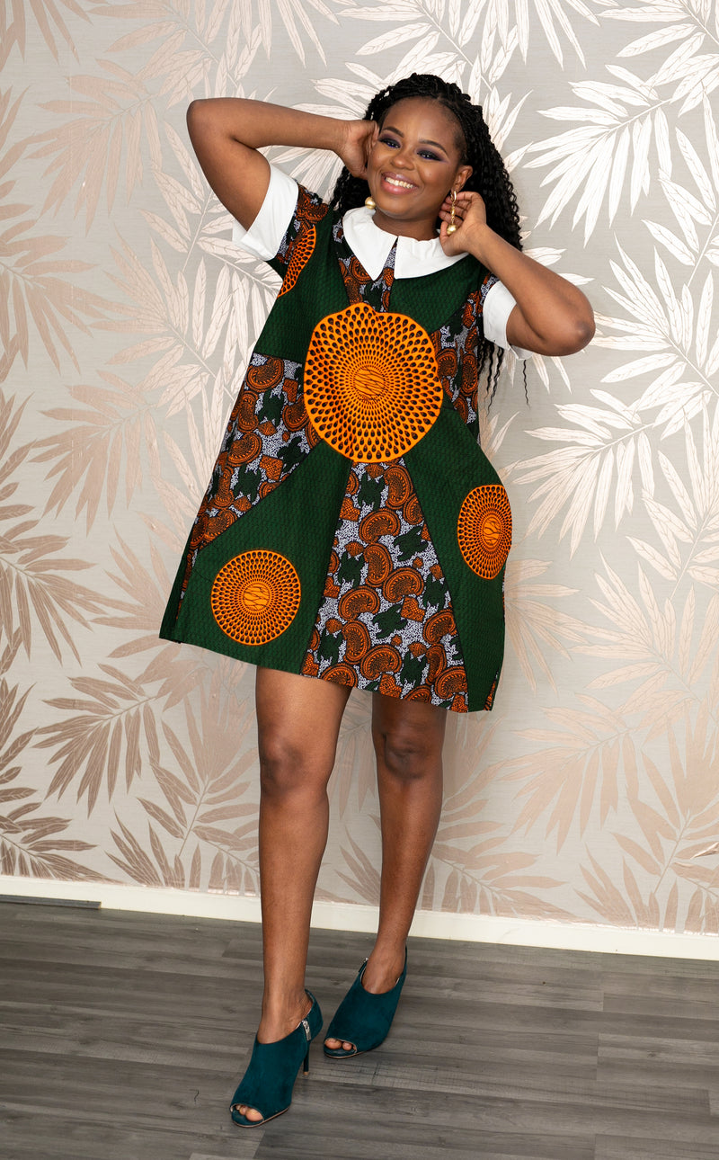 temad african print green ankara white collar mini dress with pockets
