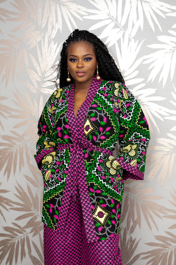 temad african print ankara kimono top jacket with pockets