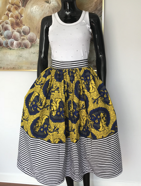 Ankara yellow midi skirt