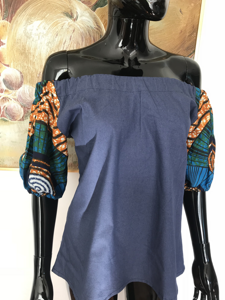 Ankara denim bardot top
