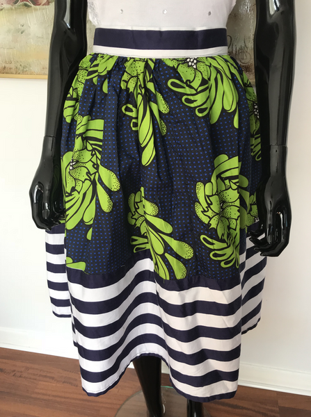 Ankara green midi skirt