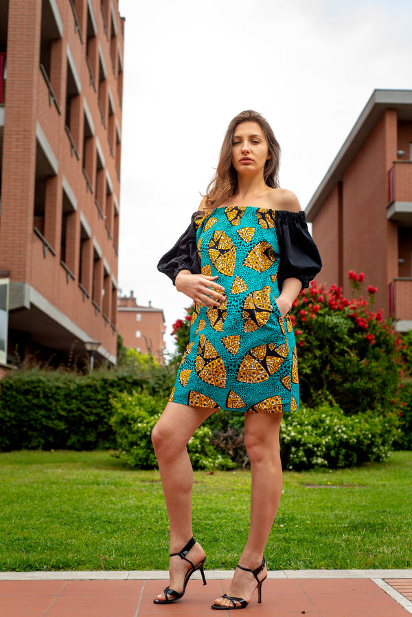 TemAD african print ankara bardot dress with pockets knee length