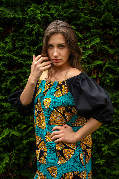 african print ankara bardot dress
