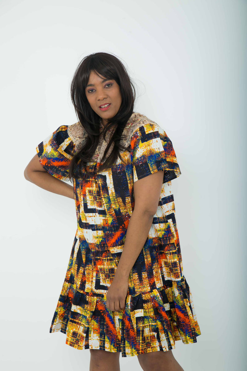 TemAD african print ankara mini knee length dress with ruffles