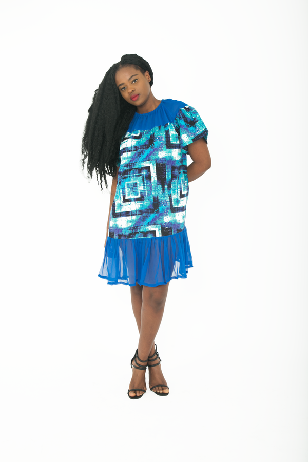TemAD african print ankara mini knee length dress with chiffon ruffles