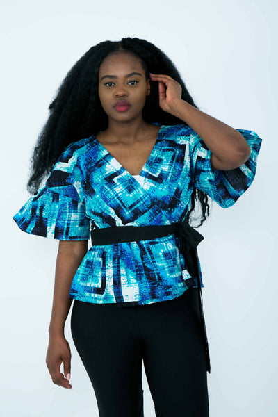 Ysabelle wrap top - blue short sleeve