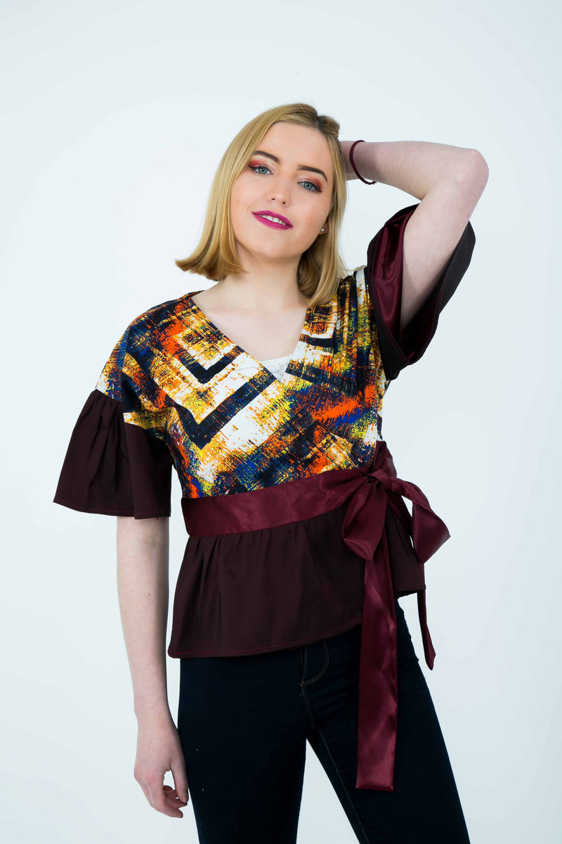 TemAD african print ankara wrap top short sleeves with belt