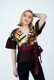 Ysabelle wrap top - yellow/burgundy