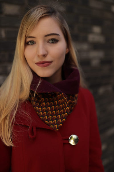 TemAD African print Ankara snood with one button