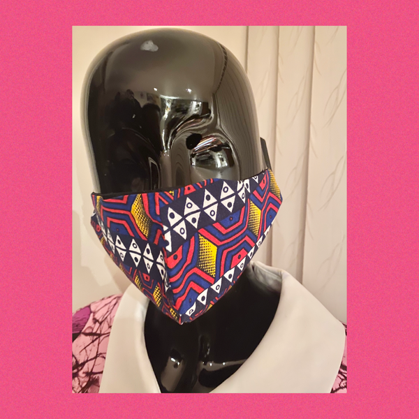 african print face mask - pink