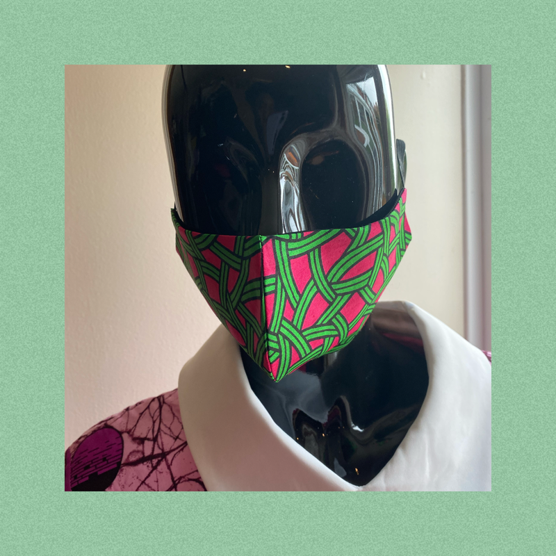 african print face mask - green