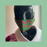 african print face mask - green/ pink