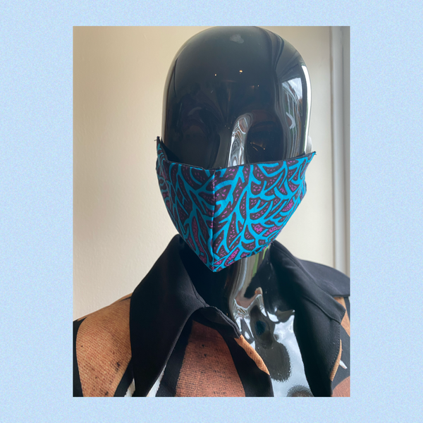 african print face mask - turquoise / purple