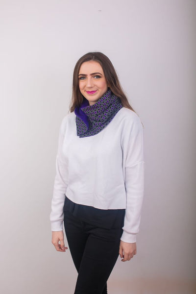 Ankara Snood with one button - Purple 9