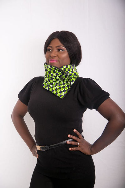 Ankara Snood with one button - Green 2