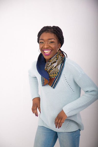 Ankara Snood with one button - Blue 3