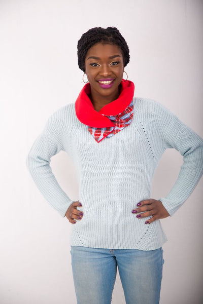 Ankara Snood with one button - Red 8