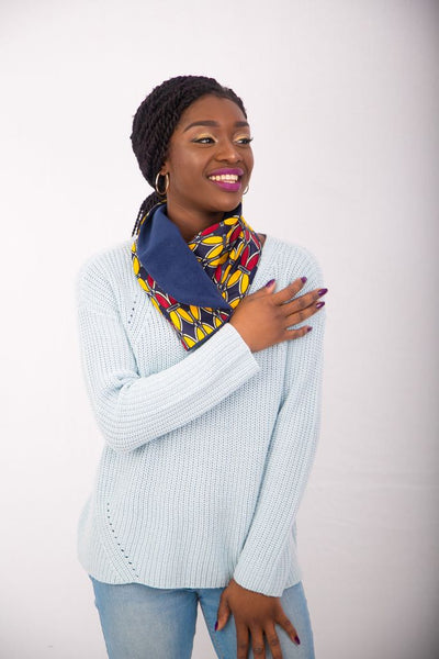 Ankara Snood with one button - Yellow 4