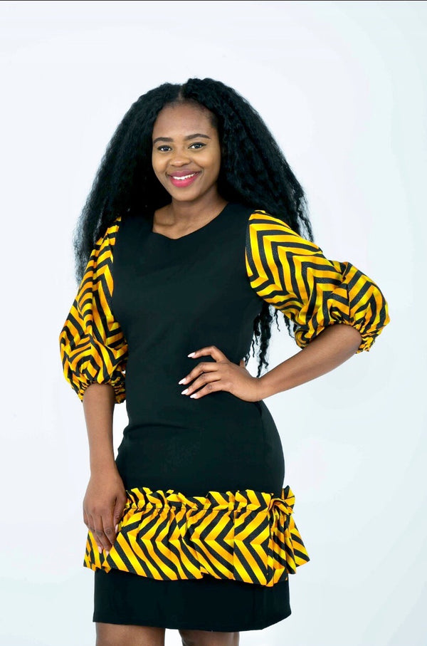 Temad african print ankara mini fitted dress with pockets ankara sleeves