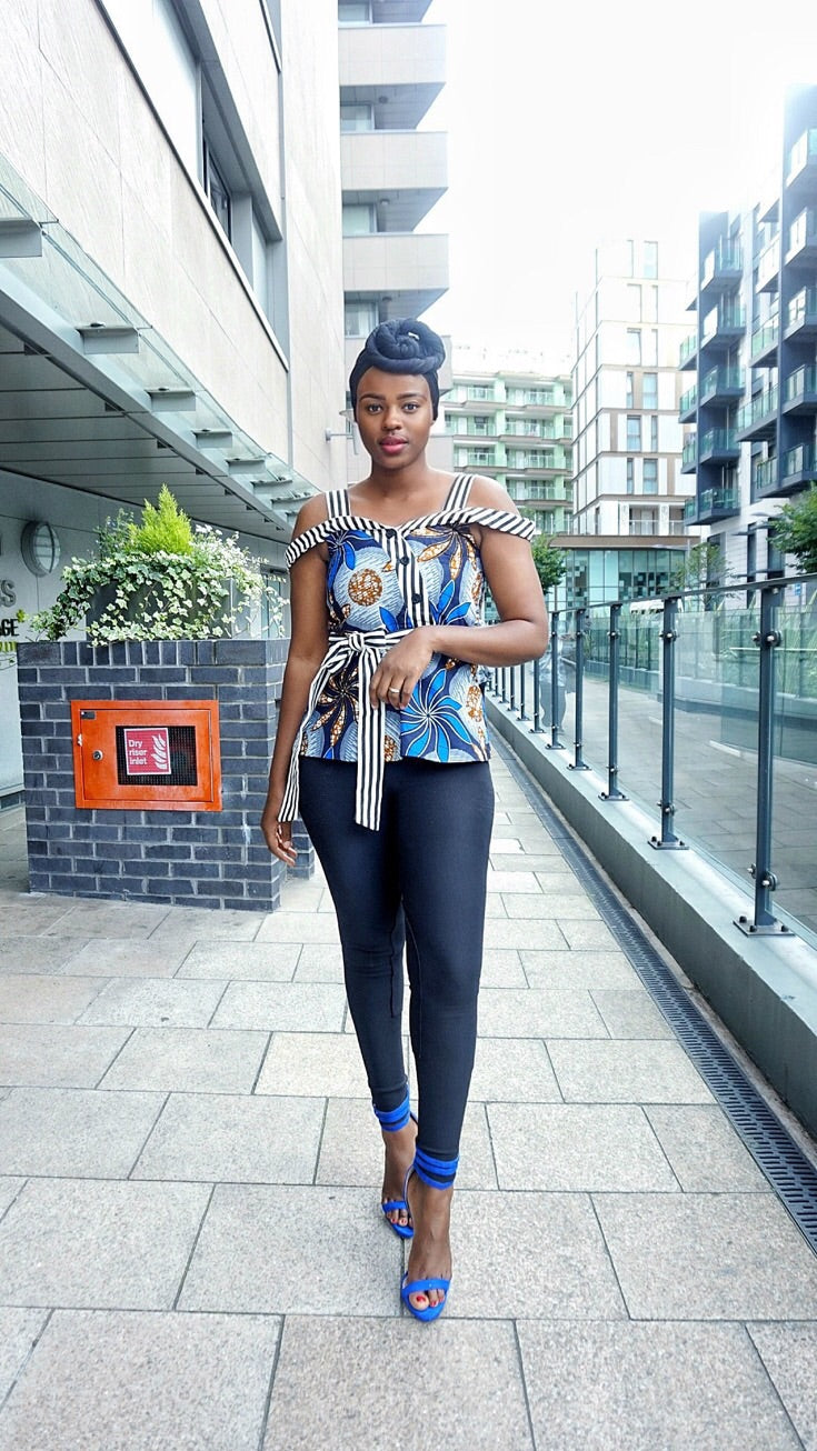 African print Ankara  peplum top with stripe details and skirt