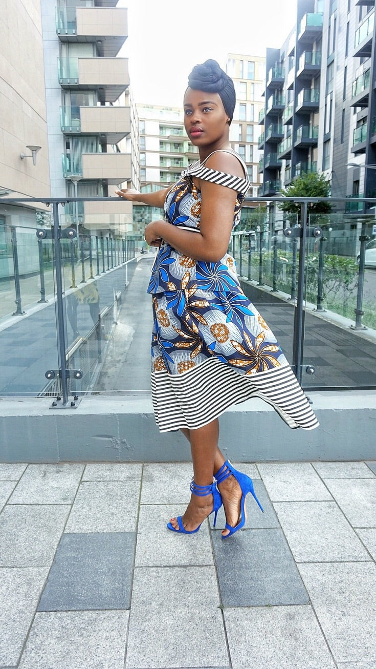 TemAD African print Ankara  skirt with stripe details and top