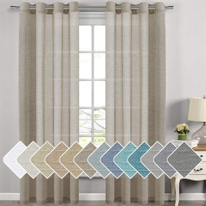Linen Sheer Curtains - 2 Panels - Nickel Grommet Linen Curtains