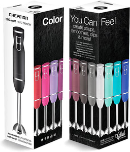 Chefman RJ19-RBR-S-Black Hand Blender 2 Speed 120Volts 300 Watts