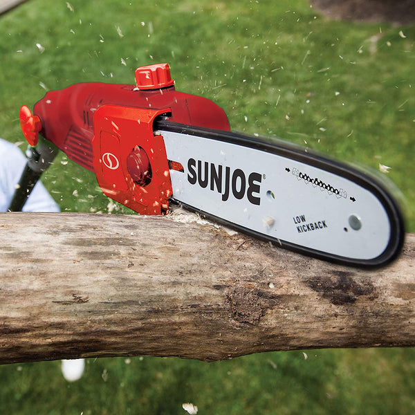 Sun Joe SWJ803E-RED 10-Inch 8.0 Amp Electric Multi-Angle Pole Chain Saw, Red