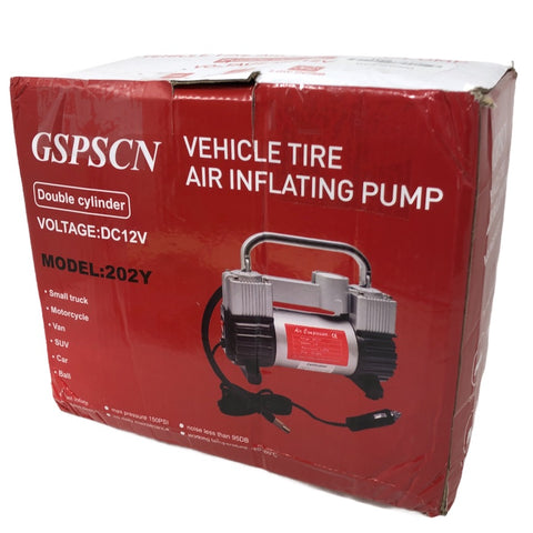 GSPSCN Vehicle Tire Air Inflating Pump, Double Cylinder, DC12V