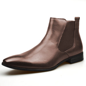 Mens Tan Leather Chelsea Style Smart Formal Casual Boots