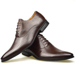 Men's perforated Oxford shoe in brown faux leather one on top of the other