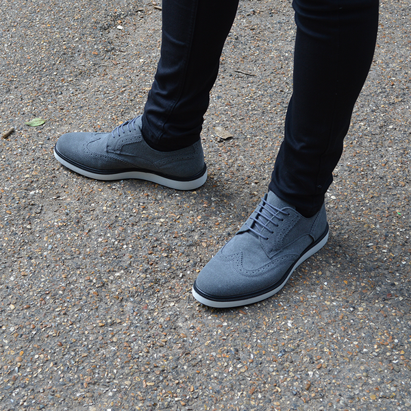 IMAGE 1 of round-toe brogue trainer in charcoal faux suede