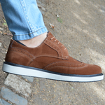 IMAGE 1 of round-toe brogue trainer in tan faux suede