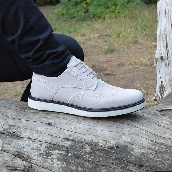 IMAGE 1 of round-toe brogue trainer in grey faux suede