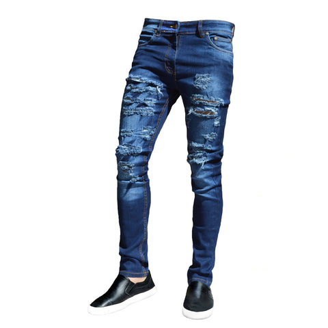 Picture of Mens Dark Blue Ripped Frayed Skinny Stretch Denim Jeans