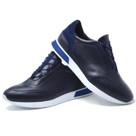 Picture of Mens Navy Smart Casual Work Gym Tennis Lace Up Trainers