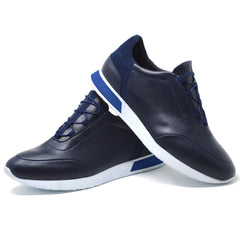 Mens Navy Smart Casual Work Gym Tennis Lace Up Trainers