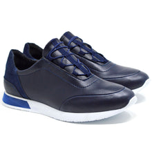 Load image into Gallery viewer, Mens Navy Smart Casual Work Gym Tennis Lace Up Trainers
