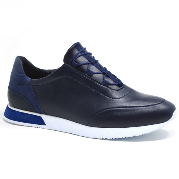 Navy Faux Leather Lace Up Tennis Trainer