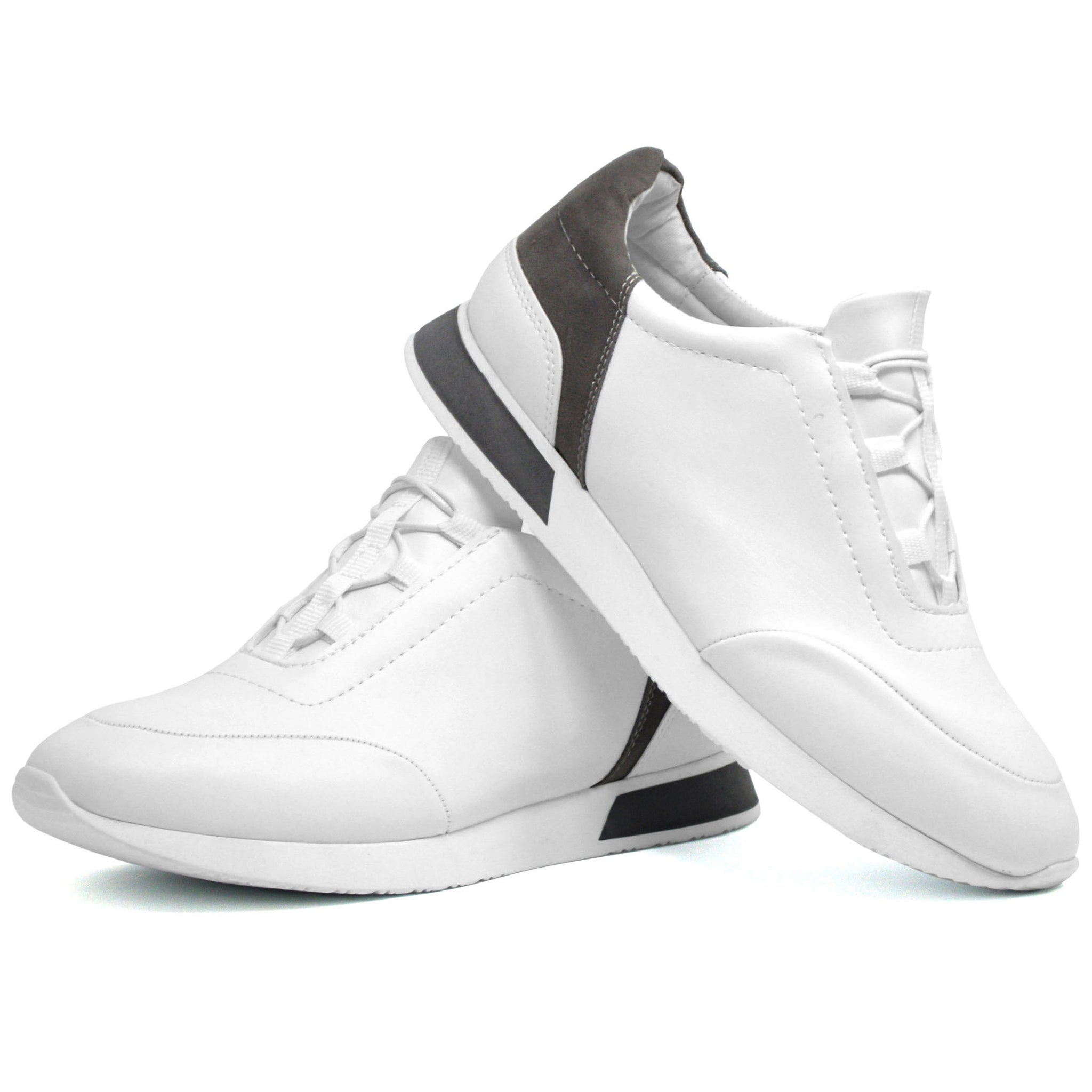 Mens White Smart Casual Work Gym Tennis Lace Up Trainers Classydude