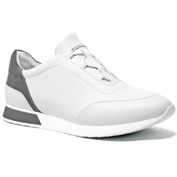 White Faux Leather Lace Up Tennis Trainer