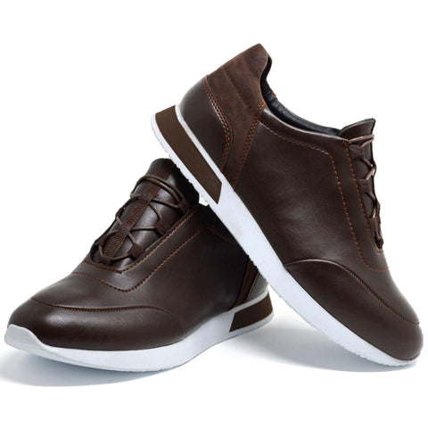 Picture of Mens Brown Smart Casual Work Gym Tennis Lace Up Trainers