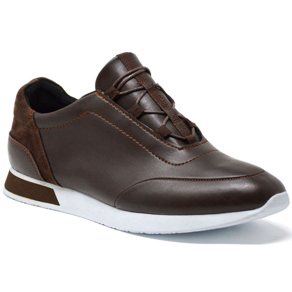 Brown Faux Leather Lace Up Tennis Trainer